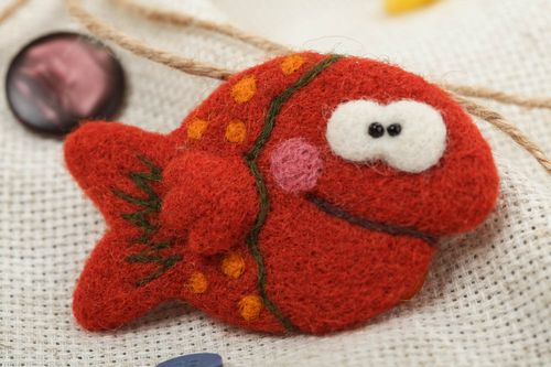 Handmade funny small animal brooch felted of wool red fish for children - MADEheart.com