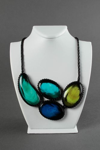 Leather necklace handmade gift jewelry made of horn colorful design necklace  - MADEheart.com