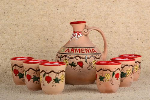 Set of handmade ware ceramic cups and decanter cute designer kitchenware - MADEheart.com