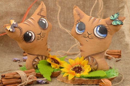 Set of 2 handmade flavored fabric soft toys Cats with blue and brown eyes - MADEheart.com