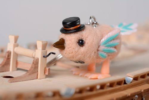 Nice keychain toy made of wool and polymer clay Bird - MADEheart.com