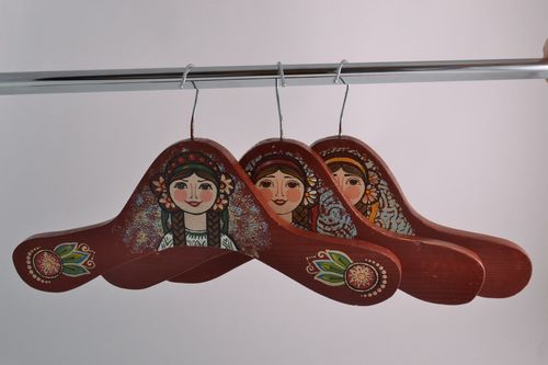 Set of 3 handmade wooden clothes hangers with acrylic painting in ethnic style - MADEheart.com