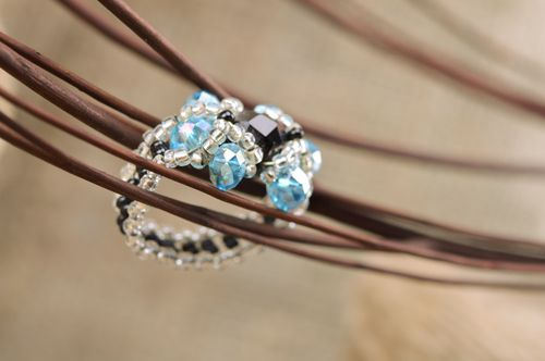 Beautiful elegant handmade beaded flower ring of blue and black colors - MADEheart.com