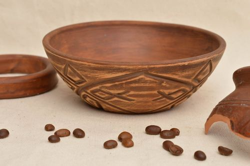 Unusual handmade clay bowl designer ceramic bowl pottery works gift ideas - MADEheart.com
