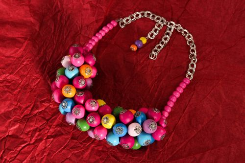 Handmade bright necklace stylish wooden jewelry unusual designer accessories - MADEheart.com