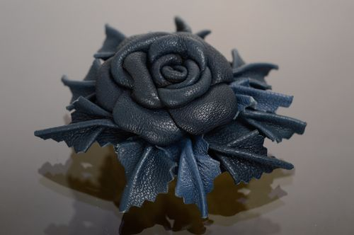 Blue leather floral brooch-hair clip - MADEheart.com