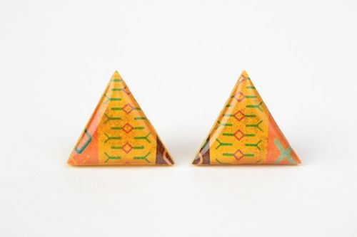 Handmade bright yellow triangle stud earrings with jewelry glaze for women - MADEheart.com