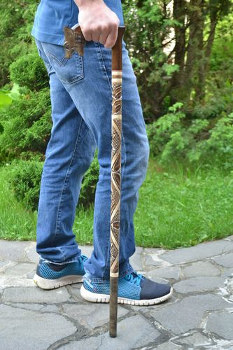 Handmade art carved decorative wooden walking stick with animal head handle - MADEheart.com