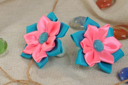 Handmade set of scrunchies made of satin ribbons pink-blue flowers 2 pieces - MADEheart.com