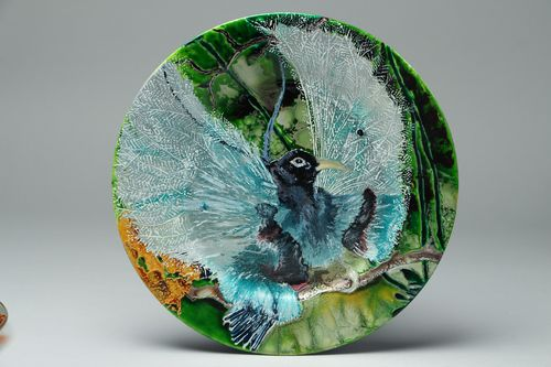 Decorative painted glass plate Bird - MADEheart.com