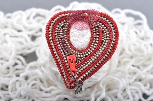 Handmade designer heart-shaped red brooch with cameo for coat or blouse - MADEheart.com