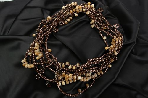 Ethnic beaded necklace in brown and beige colors - MADEheart.com