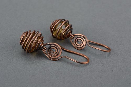 Earrings wire wrap with czech crystal - MADEheart.com