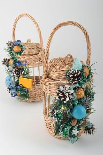 Handmade woven basket for water blessing with lid cones and balls - MADEheart.com