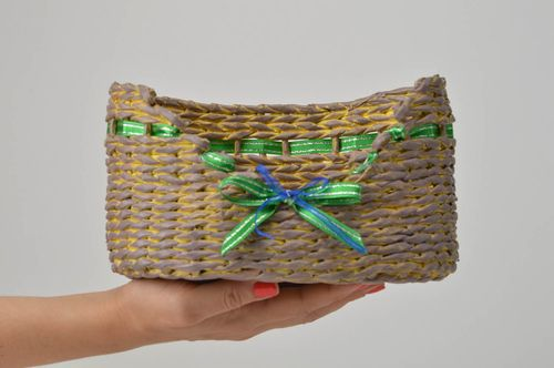 Unusual handmade woven basket designer paper basket newspaper basket gift ideas - MADEheart.com