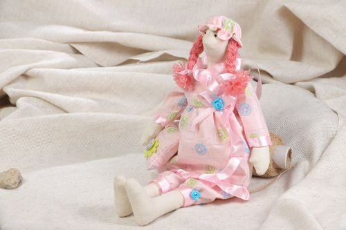 Nice handmade collectible fabric soft doll for children and home decor Sleepy - MADEheart.com