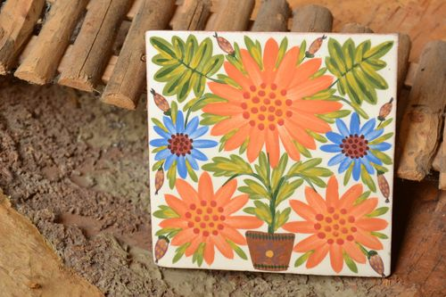 Handmade clay painted tile beautiful colorful wall panel decorative ideas - MADEheart.com