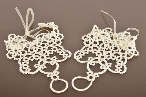 Handmade designer lacy delicate tatted slave bracelets with beads for wedding  - MADEheart.com