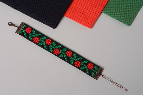 Handmade cross stitch embroidered textile bracelet  - MADEheart.com