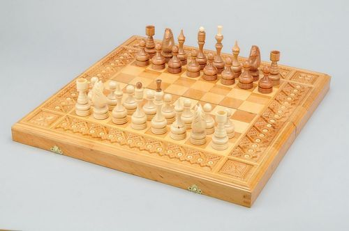 Wooden set (chess, backgammon, checkers) three in one - MADEheart.com