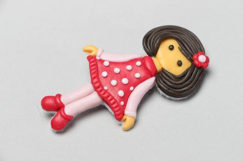 Plastic brooch in the shape of doll Polina - MADEheart.com
