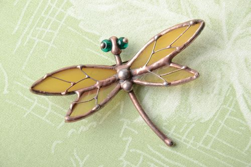Handmade stained glass brooch in the shape of dragonfly - MADEheart.com