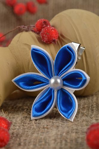Beautiful handmade flower barrette hair clip kanzashi flower gifts for her - MADEheart.com