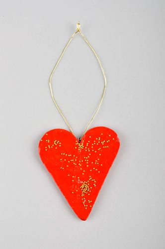 Handmade designer toy unusual Christmas decoration polymer clay hanging - MADEheart.com
