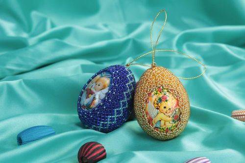 Set of 2 Easter eggs decorative eggs Easter decor wall hangings handmade gifts - MADEheart.com