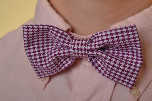 Beautiful handmade designer elegant fabric bow tie with motley coloring - MADEheart.com