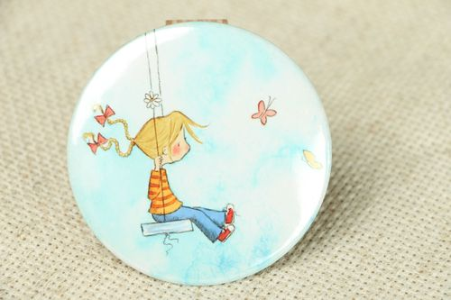 Small pocket mirror with authors print - MADEheart.com