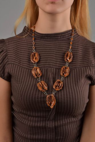 Beautiful handmade designer necklace walnut jewelry fashion accessories for her - MADEheart.com