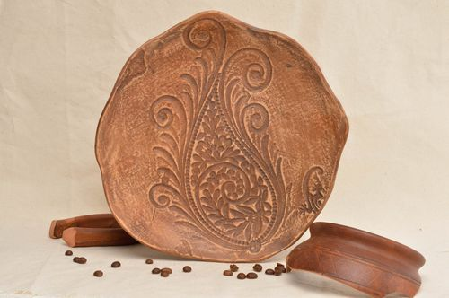Unusual handcrafted ceramic plate beautiful clay plate pottery works ideas - MADEheart.com