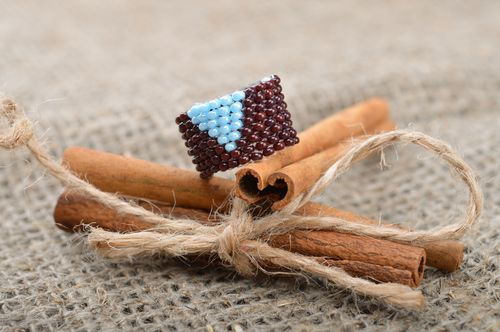 Laconic broad handmade ring woven of brads of brown and blue colors for women - MADEheart.com