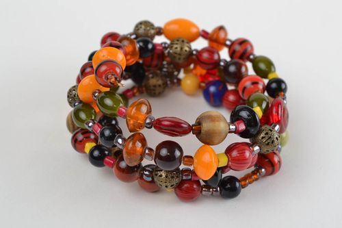 Handmade multi row designer wrist bracelet with wooden and glass colorful beads - MADEheart.com