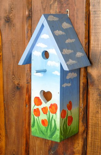 Bright painted wooden nest box Tulips - MADEheart.com