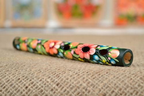 Wooden tin whistle handmade Petrykivka painting flute ethnic present for kids - MADEheart.com