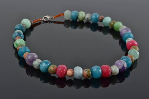 Handmade designer colorful womens necklace with natural stone beads - MADEheart.com