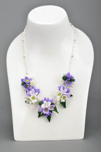Exclusive handmade necklace accessory is made of polymer clay for women - MADEheart.com
