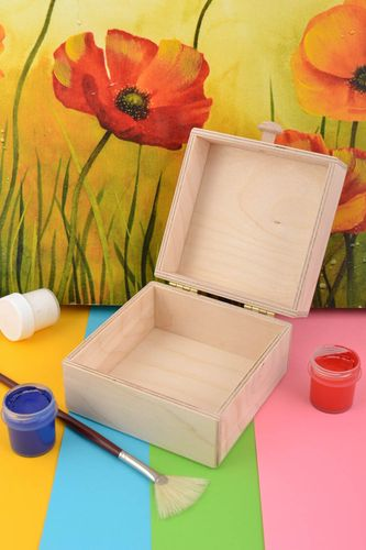 Beautiful square handmade plywood blank box for creative work art supplies - MADEheart.com