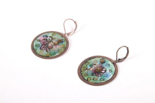 Round copper earrings Apple Tree Blossom - MADEheart.com