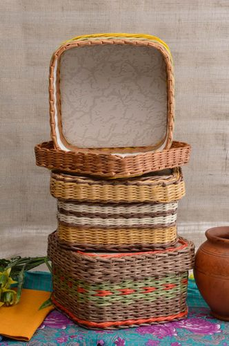 Handmade basket unusual gift home decor paper basket for kitchen decor - MADEheart.com