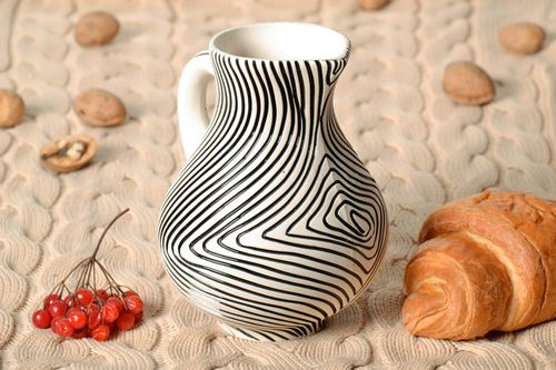 30 0z Zebra style white and black color ceramic handmade mil jug with handle 1,5 lb - MADEheart.com