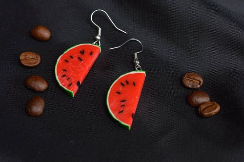 Painted earrings polymer clay accessory handmade plastic long earrings - MADEheart.com