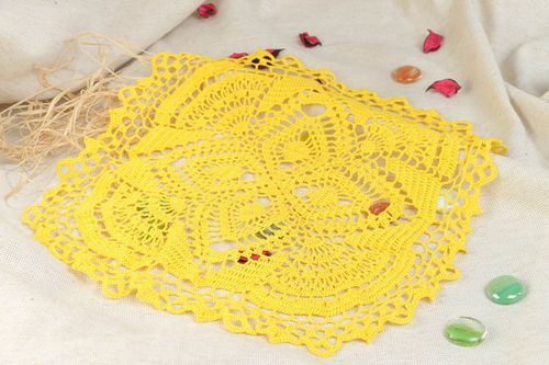 Beautiful light lace crochet cotton table napkin of yellow color handmade - MADEheart.com