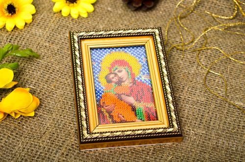 Handmade home decor religious icons beadwork icons for decorative use only - MADEheart.com