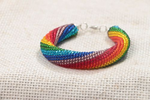 Handmade massive stylish wrist beaded cord bracelet of rainbow coloring - MADEheart.com