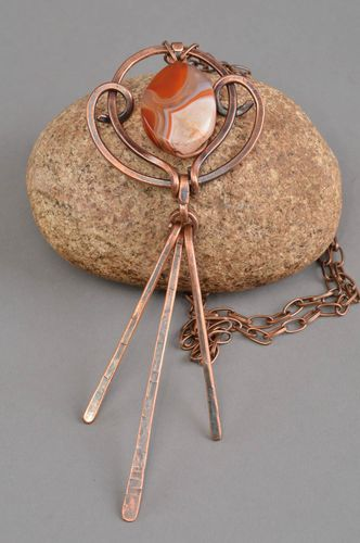 Copper pendant handmade accessory carnelian jewerly best gift ideas for women - MADEheart.com