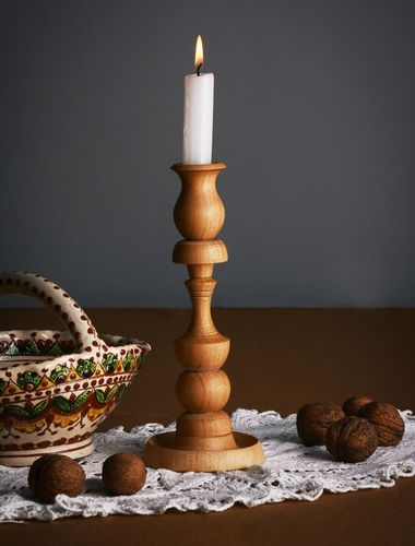 Carved wooden candlestick - MADEheart.com