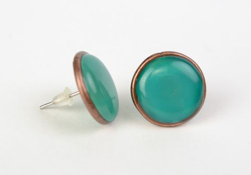 Handmade small tender stud earrings with jewelry glaze of turquoise color - MADEheart.com